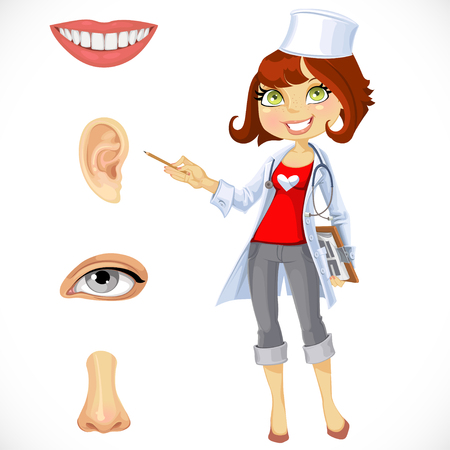 cartoon ear: Cute woman doctor - indicating that the part of face