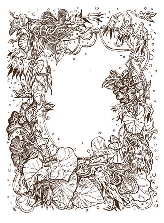 Decorative frame of bindweed ink drawing