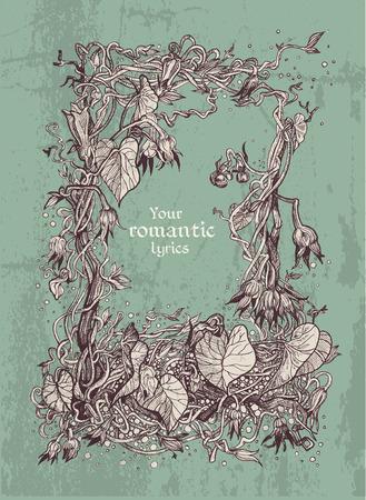 lyrics: Decorative vintage frame of bindweed for your lyrics in grunge style