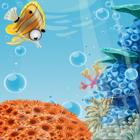 Deep blue sea with coral reefs and sea anemones. Banner for your text Vector