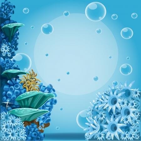 Diepzee blauwe achtergrond met actine en koralen. Banner voor uw tekst