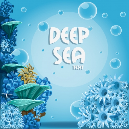 Deep sea blue background with actin and corals Vector