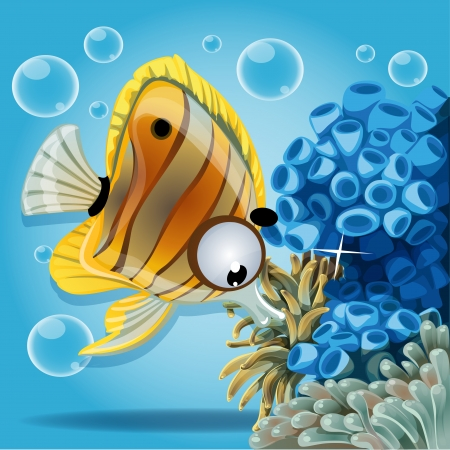 Discus fish on a blue background with anemones and corals Vector