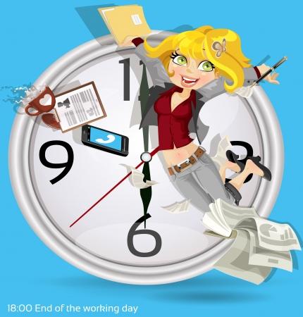 jornada de trabajo: Fin de la jornada de trabajo Vectores
