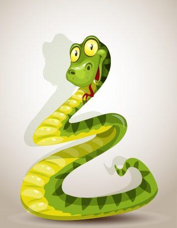 Cute snake bent in the form of a Christmas tree Vector