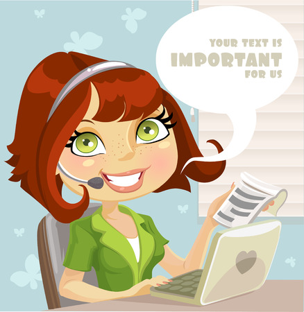 Girl manager with a microphone, computer and notebook with records Vector