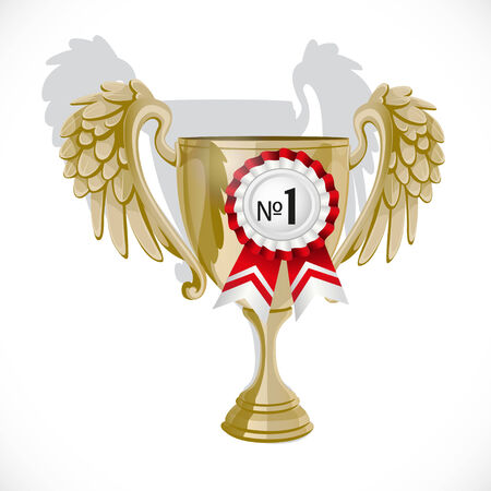 Goblet winner with rosette isolated on white background Vector