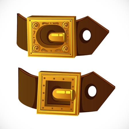 buckle: Gold buckle on brown belt