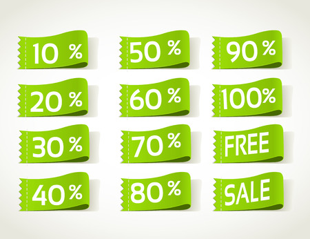 Green arrival label sale percents Vector