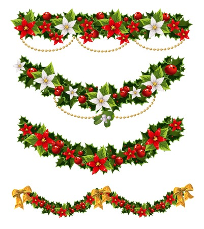 Green Christmas garlands of holly and mistletoe and bow Vector