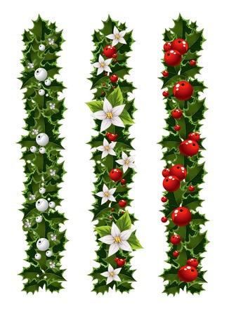 ヤドリギとヒイラギの緑のクリスマスの花輪  イラスト・ベクター素材