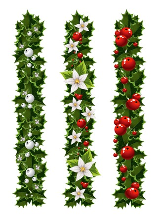 mistletoe: Green Christmas garlands of holly and mistletoe