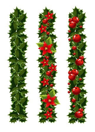 Green Christmas garlands of holly Vector