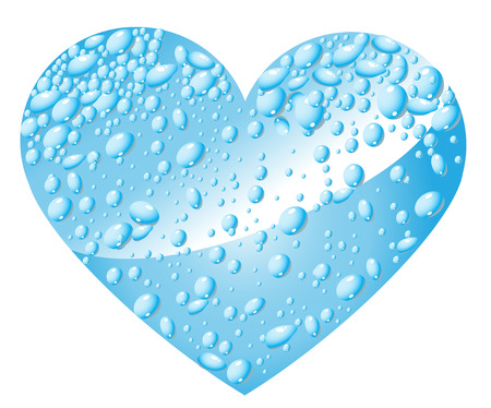 wetness: Heart from water drops Illustration