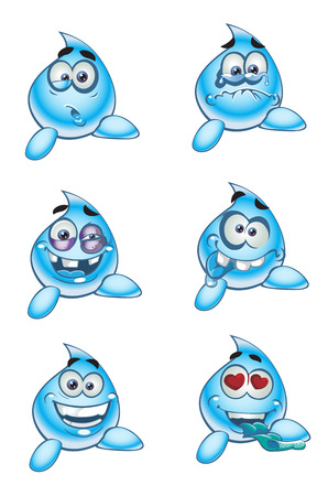 inlove: inlove water drops smiles Illustration