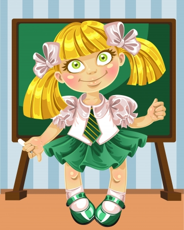schoolgirl: Little schoolgirl at the board Illustration