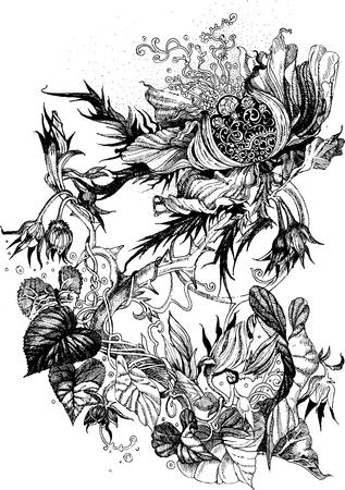 ligature: openwork floral design with bindweed