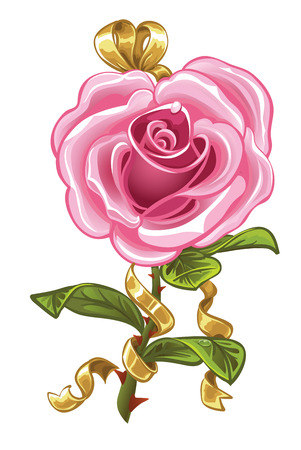 Pink rose in the shape of heart and gold bow Stock Vector - 23152860