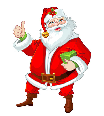 father christmas: Cute Santa Claus with gift
