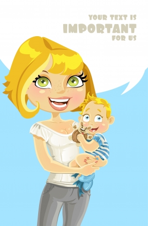speach: Pretty blond mom with her son in her arms with speach bubble