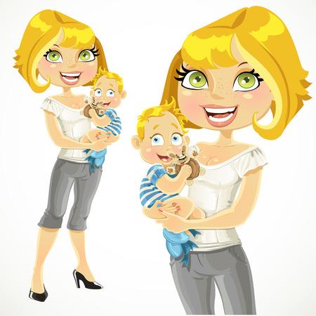 Mooie blonde moeder met haar zoon in haar armen Stock Illustratie