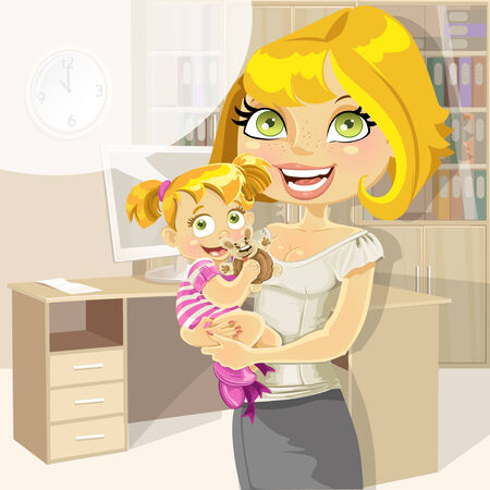 ponytails: Pretty business mom with baby girl in office Illustration