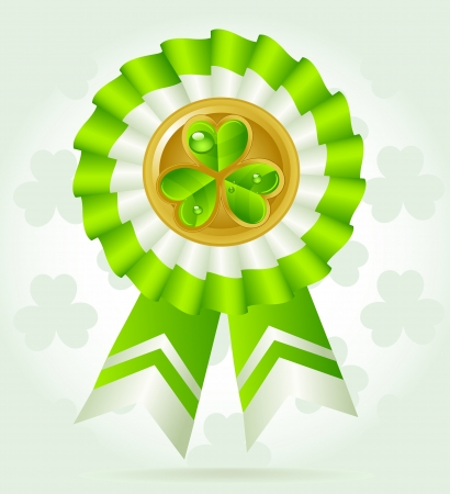 pretty clover award on St. PatricK`s Day with gold coin Vector
