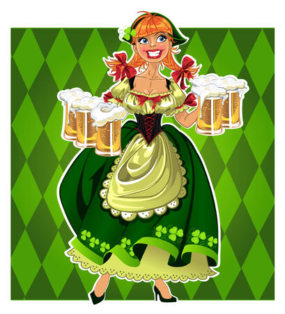 Pretty leprechaun girl in green with beer on green background Vector