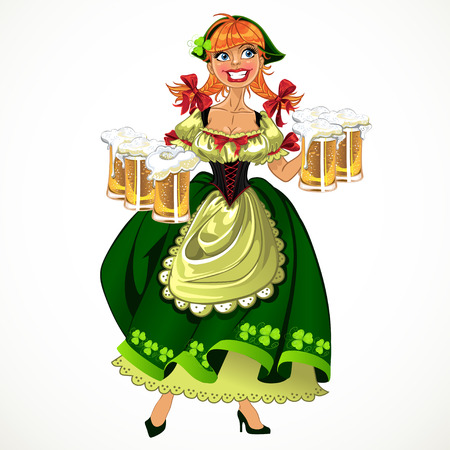 Pretty leprachaun girl in green with beer Vector