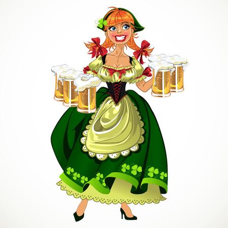 leprachaun: Pretty leprachaun girl in green with beer