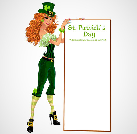 patric banner: Pretty leprachaun girl with placard for text Illustration