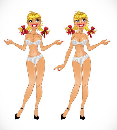 Pretty nude girl in different positions Vector