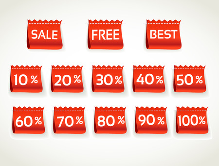 sell off: Red horizontal environment arrival label sale percents