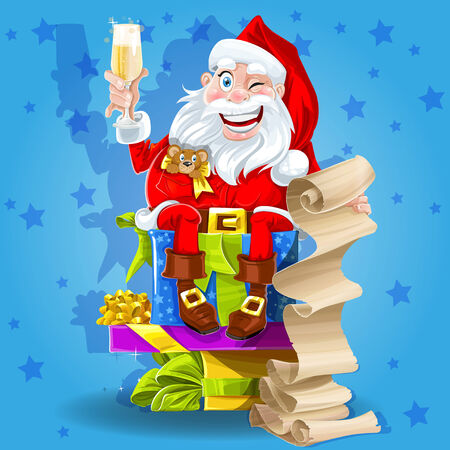 Santa Claus with gifts and champagne