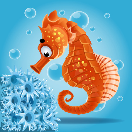 sea horse: Sea horse on a blue background with actin Illustration