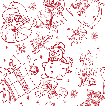 christmass: Fondo Christmass Seamless doodles en color rojo