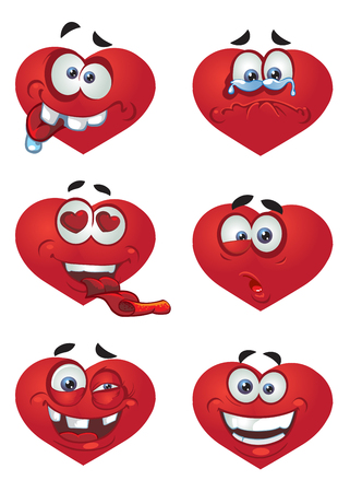 Set of batch a Heart Valentine`s day smiles Vector