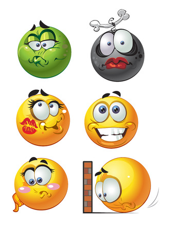 set of batch round emotion smiles Vector