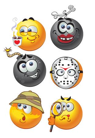 изумление: набор пакетном вектора круглый улыбается emotion2 Иллюстрация