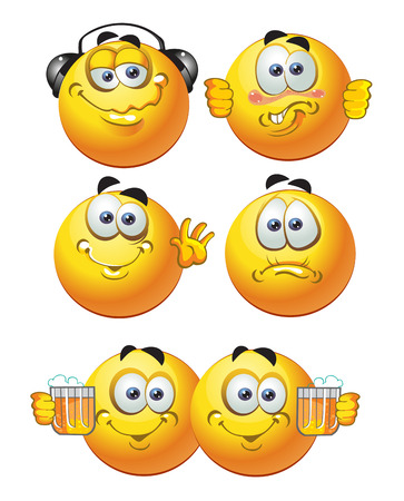 set of batch round smiles friends Vector