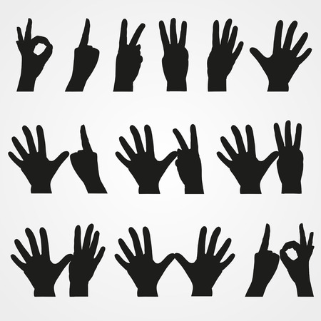 Set of illustrations of numbers in the form of hands from 1 to 10 Vector
