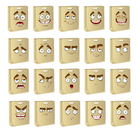 set of smiles clean paper bags for food Illustration