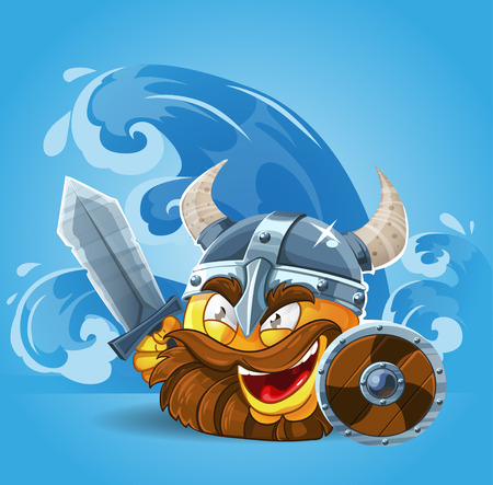 Smile Viking in helmet with sword and shield Vector