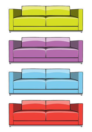 easy chair: Sofa in some color variations Illustration