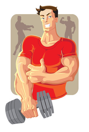dumbell: vettore sportivo in rosso con dumbell