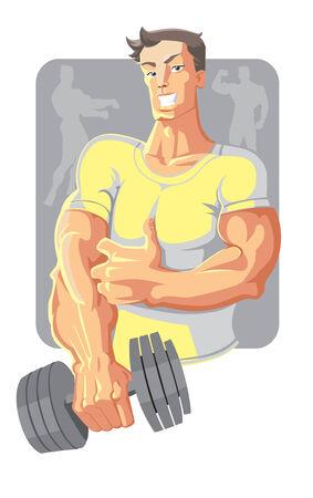 dumbell: vettore sportivo in giallo con dumbell Vettoriali