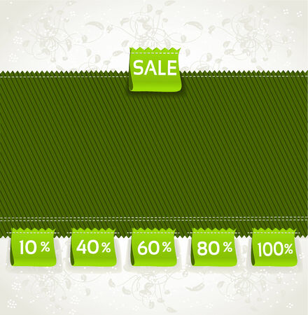 Spring green environment arrival label sale percents on the fabric Illustration