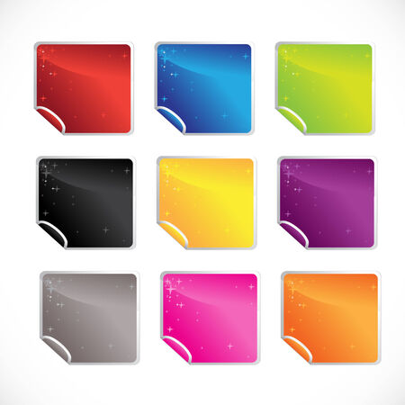 square glossy shiny stickers Vector