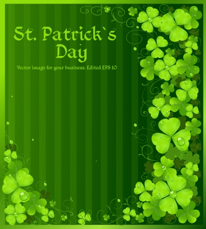St. Patricks Day green clover background Vector