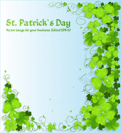 St. Patricks Day green clover light background Vector